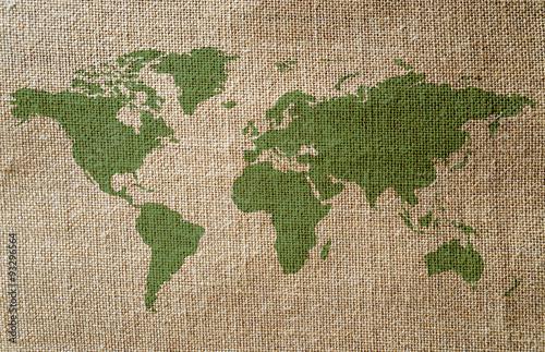 Fotobehang Wereldkaarten Planisphère sur fond toile de jute