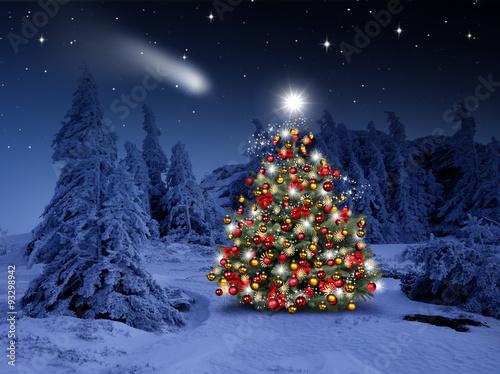 gamesageddon geschm ckter weihnachtsbaum im winterwald lizenzfreie fotos vektoren und. Black Bedroom Furniture Sets. Home Design Ideas