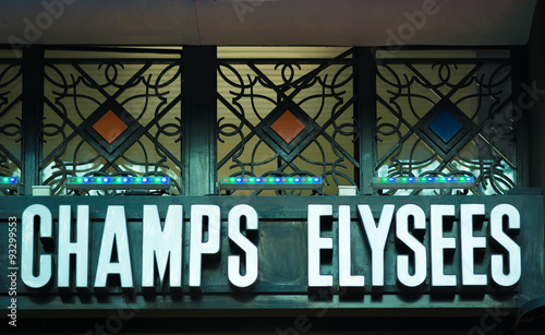 In de dag Art Studio Cinematic Champs Elysees indicator in Paris. The name of the famous boulevard is French for Elysian Fields, the paradise for dead heroes in Greek mythology.