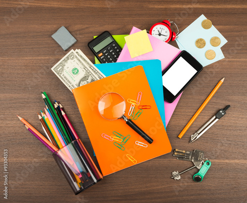 Colorful Notebooks With Office Supplies Stock Photo And