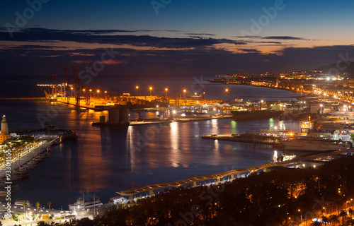 Foto op Canvas Europa Port of Malaga from castle in evening
