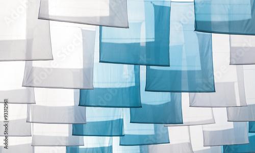 Banderolas azules y blancas para celebrar festividad religiosa Virgen del Rosario. © tingitania