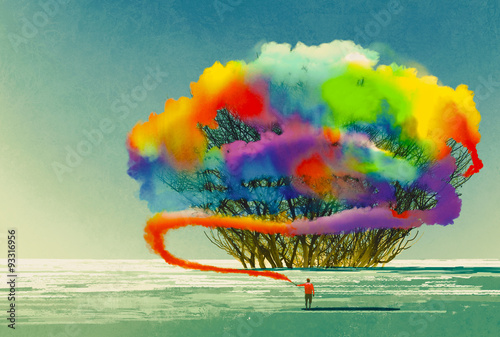 man draws abstract tree with colorful smoke flare,illustration painting - 93316956