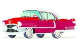Caricatura Cadillac Fleetwood Sedán 1955 rojo vista frontal y lateral