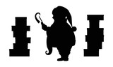 Santa Claus silhouette and christmas gifts