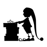 Elf silhouette and christmas gifts