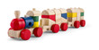 Wooden toy train with colorful blocs isolated over white