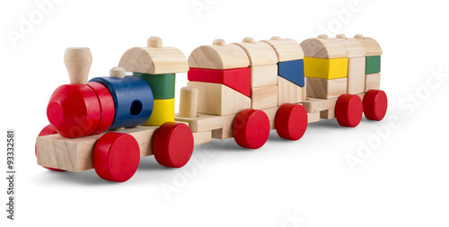 Wooden toy train with colorful blocs isolated over white Poster
