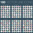 Vektor Linien Icons Set bunt