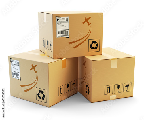 Global packages delivery and parcels transportation concept, stack of cardboard boxes isolated on white background