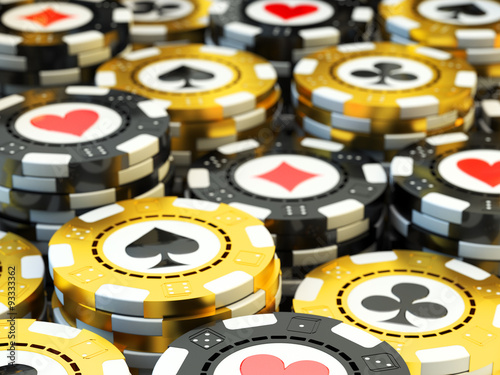 """""""Gambling and casino concept, stack of black and golden"""