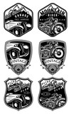 Fototapety set of retro badges with car and motorcycle on background with mountains