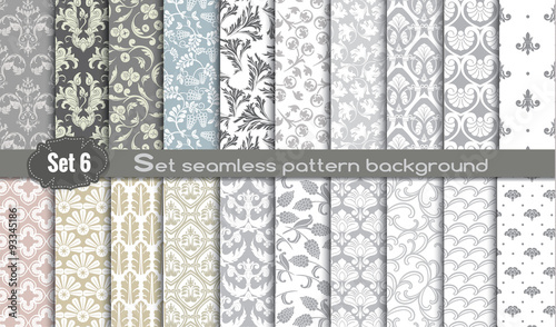 Vector damask seamless pattern background.pattern swatches included for illustrator user, pattern swatches included in file, for your convenient use. - 93345186