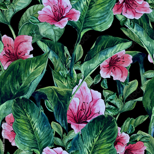 Seamless Background with Tropical Leaves - 93345711