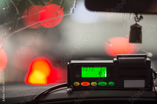 Foto op Aluminium New York TAXI The view from the cab to the display meter in Thailand.