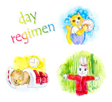 Kids day regiment. Watercolor hand drawn illustration poster
