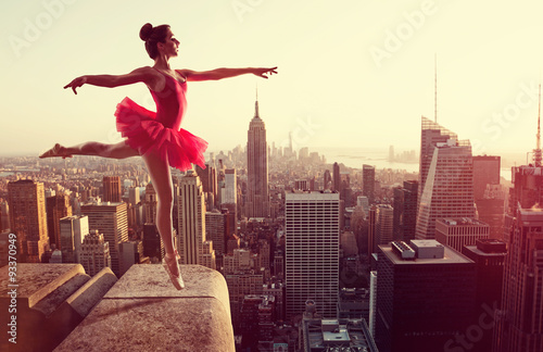 Ballet Dancer in front of New York Skyline Poster