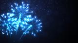 Fototapety Festive blue firework background.