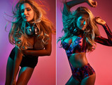 Fototapety fashion stylish portrait yong women dj on color background