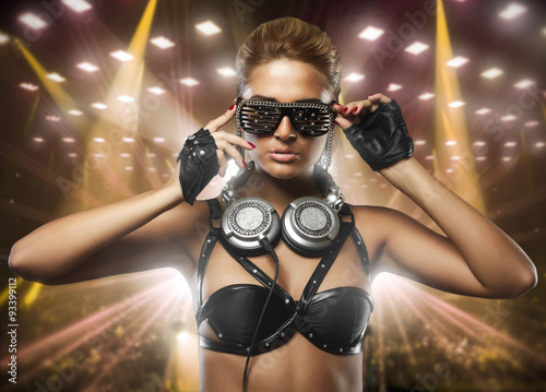 portrait of fashion woman model with glamour glasses in club - 93399112