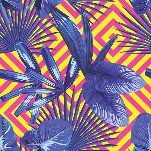tropical  palm leaves pattern, geometric background