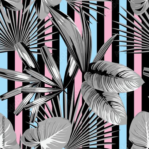 Cotton fabric tropical  palm leaves pattern, striped background