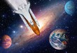 Outer space travel shuttle rocket launch spaceship spacecraft planet earth. Elements of this image furnished by NASA.