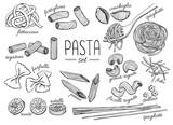 Fototapety Vector hand drawn pasta set. Vintage line art illustration