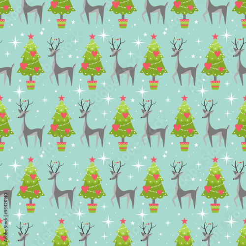 Materiał do szycia Cute Christmas seamless pattern background with Christmas tree a