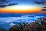 Seoraksan mountains is covered by morning fog and sunrise in Seo poster