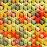 Colorfull vintage 3D boxes background - vibrance cubes pattern