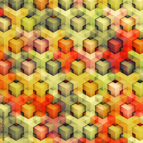 Aluminium 3d Achtergrond Colorfull vintage 3D boxes background - vibrance cubes pattern