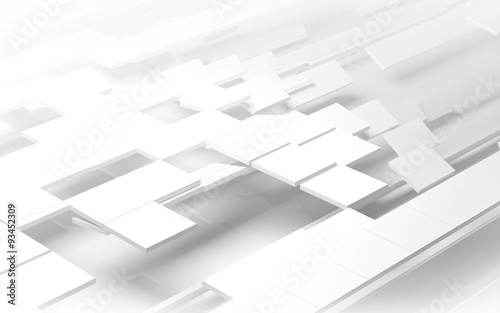 Fototapeta White geometric architectural construction background - 3D render