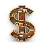 Fototapety Concept of money. Wooden bookshelf full of books in form of doll