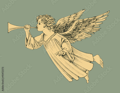Retro style Christmas angel - 93472373