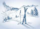 Fototapety Ski background, mountains in winter season