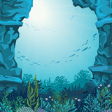 Underwater cave and coral reef.
