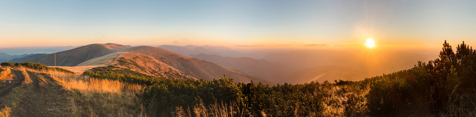 Panorama of amazing sunrise on mountain ridge © Jaroslav Machacek