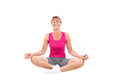 Sporty woman meditating and laughing - 93482913