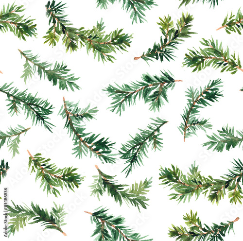Cotton fabric Pine tree branch. Watercolor repeat pattern