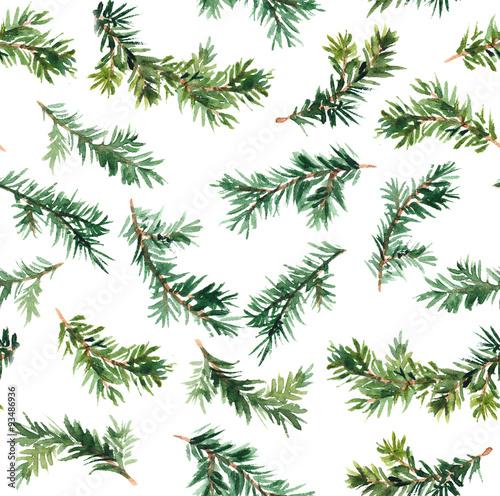 Materiał do szycia Gałąź drzewa sosnowego. Akwarela wzorca cyklu