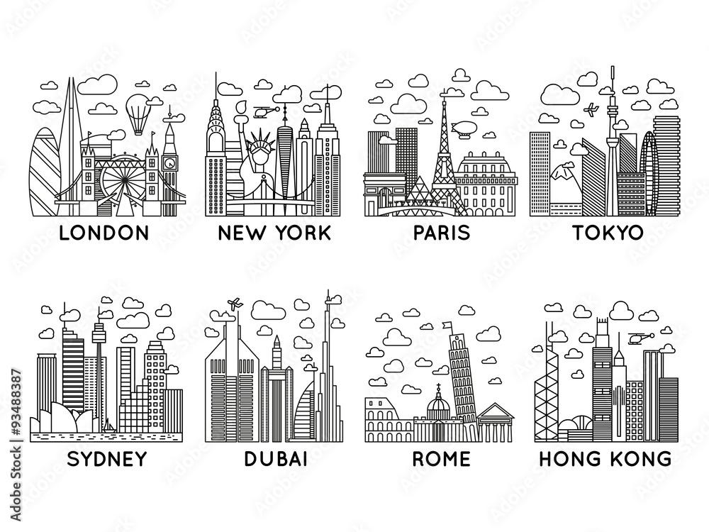 43a15fa07f8 Line City Icons London New York Paris Tokyo Sydney Dubai Rome Hong Kong  Line Art Sticker