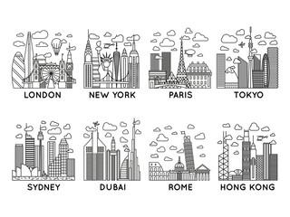 line vector city icons. london, new york, paris, tokyo, sydney, dubai, rome, hong kong. line art collection
