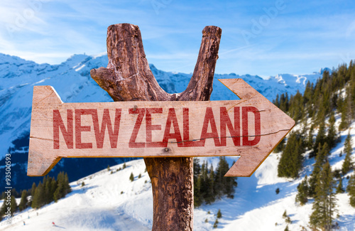 Poster New Zealand wooden sign with winter background