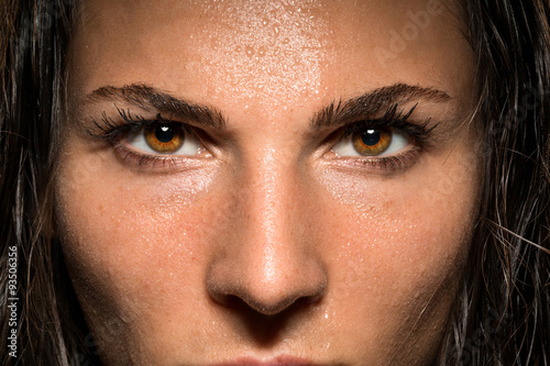 Poster Conviction focused determined passionate confident powerful eyes stare intense a