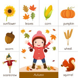 Fototapety Printable flash card for autumn and little girl playing with aut