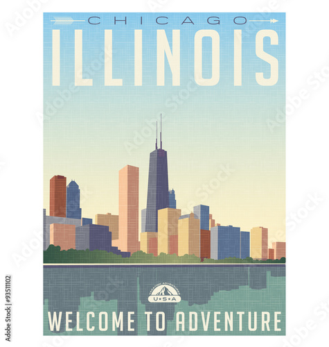 Aluminium Vintage Poster vintage style travel poster or luggage sticker of chicago Illinois skyline