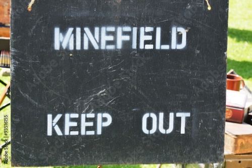 Poster Minefield warning sign