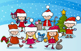 cartoon kids on christmas
