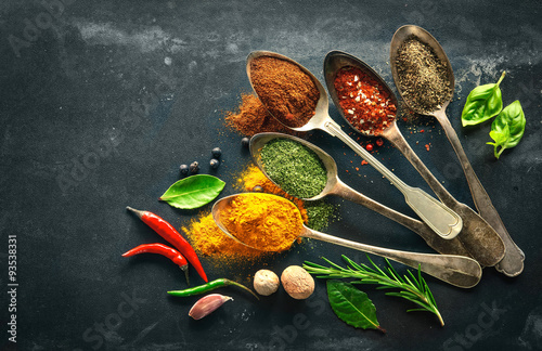 Poster Various herbs and spices